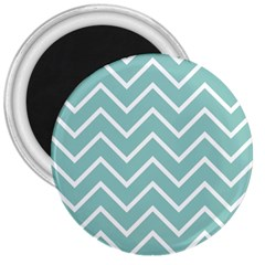 Blue And White Chevron 3  Button Magnet
