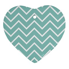 Blue And White Chevron Heart Ornament
