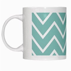 Blue And White Chevron White Coffee Mug