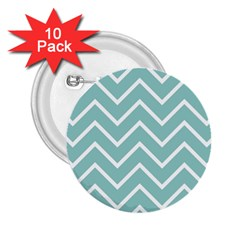 Blue And White Chevron 2.25  Button (10 pack)