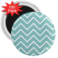 Blue And White Chevron 3  Button Magnet (100 pack)