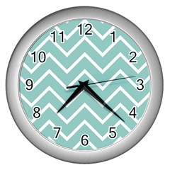 Blue And White Chevron Wall Clock (silver)
