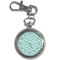 Blue And White Chevron Key Chain Watch