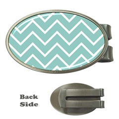 Blue And White Chevron Money Clip (Oval)