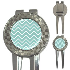Blue And White Chevron Golf Pitchfork & Ball Marker