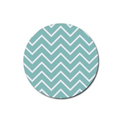 Blue And White Chevron Drink Coaster (round)
