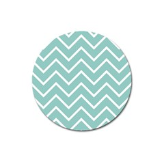 Blue And White Chevron Magnet 3  (Round)