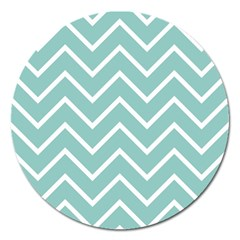 Blue And White Chevron Magnet 5  (round)