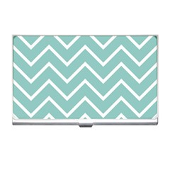 Blue And White Chevron Business Card Holder