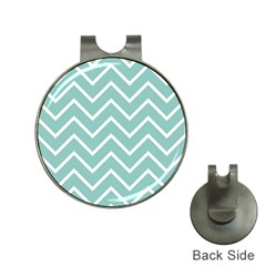Blue And White Chevron Hat Clip with Golf Ball Marker