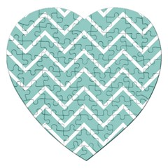Blue And White Chevron Jigsaw Puzzle (Heart)