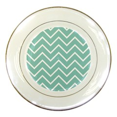 Blue And White Chevron Porcelain Display Plate
