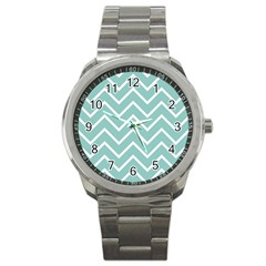 Blue And White Chevron Sport Metal Watch