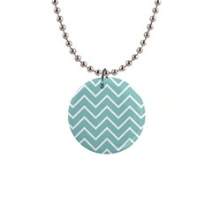 Blue And White Chevron Button Necklace