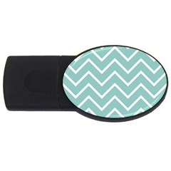 Blue And White Chevron 4GB USB Flash Drive (Oval)