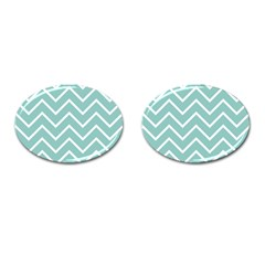 Blue And White Chevron Cufflinks (Oval)