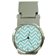 Blue And White Chevron Money Clip with Watch
