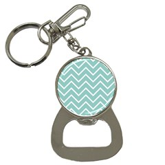 Blue And White Chevron Bottle Opener Key Chain