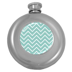 Blue And White Chevron Hip Flask (round)