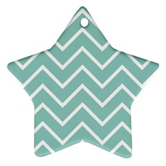 Blue And White Chevron Star Ornament (two Sides)