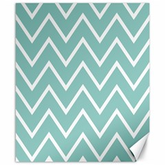 Blue And White Chevron Canvas 8  X 10  (unframed)