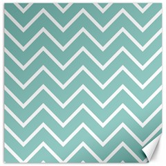 Blue And White Chevron Canvas 12  x 12  (Unframed)