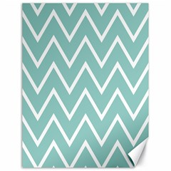 Blue And White Chevron Canvas 18  x 24  (Unframed)