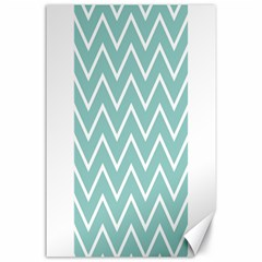 Blue And White Chevron Canvas 24  x 36  (Unframed)