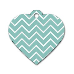 Blue And White Chevron Dog Tag Heart (Two Sided)