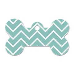 Blue And White Chevron Dog Tag Bone (One Sided)