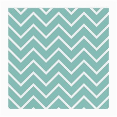 Blue And White Chevron Glasses Cloth (Medium, Two Sided)