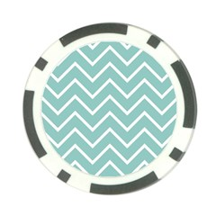 Blue And White Chevron Poker Chip