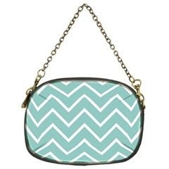 Blue And White Chevron Chain Purse (two Sided)