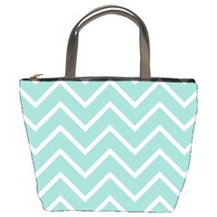 Blue And White Chevron Bucket Handbag