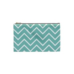 Blue And White Chevron Cosmetic Bag (small)
