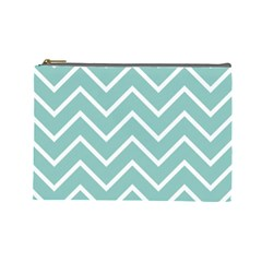 Blue And White Chevron Cosmetic Bag (large)