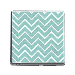 Blue And White Chevron Memory Card Reader With Storage (square)