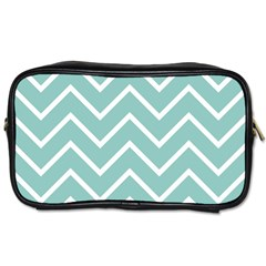 Blue And White Chevron Travel Toiletry Bag (two Sides)