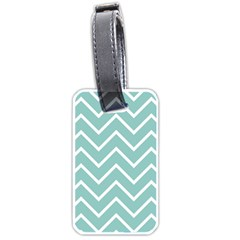 Blue And White Chevron Luggage Tag (One Side)