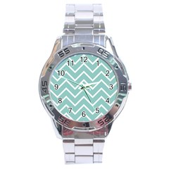 Blue And White Chevron Stainless Steel Watch