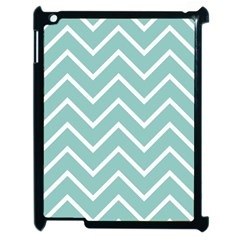 Blue And White Chevron Apple iPad 2 Case (Black)