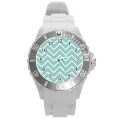 Blue And White Chevron Plastic Sport Watch (Large)