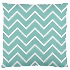 Blue And White Chevron Large Cushion Case (Two Sided)