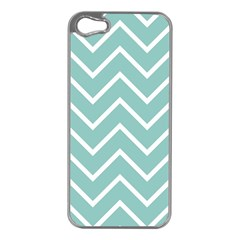Blue And White Chevron Apple iPhone 5 Case (Silver)