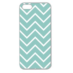 Blue And White Chevron Apple Seamless iPhone 5 Case (Clear)