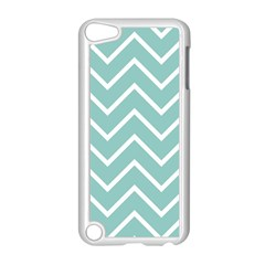 Blue And White Chevron Apple iPod Touch 5 Case (White)