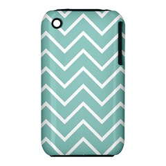 Blue And White Chevron Apple iPhone 3G/3GS Hardshell Case (PC+Silicone)
