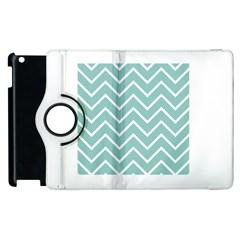 Blue And White Chevron Apple Ipad 2 Flip 360 Case