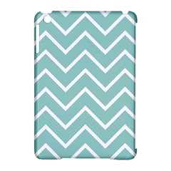 Blue And White Chevron Apple iPad Mini Hardshell Case (Compatible with Smart Cover)