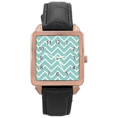 Blue And White Chevron Rose Gold Leather Watch